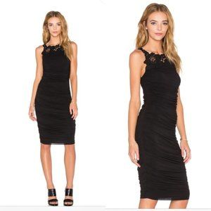 Bailey 44 Crawford Dress Black Ruched Lace neck